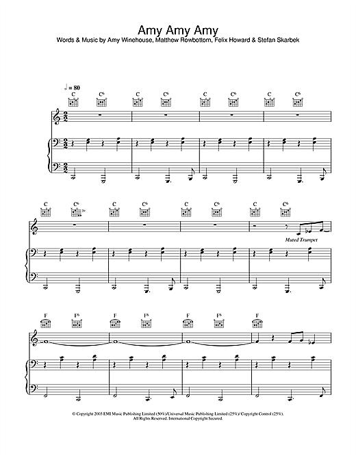 Amy Winehouse Amy Amy Amy sheet music notes printable PDF score
