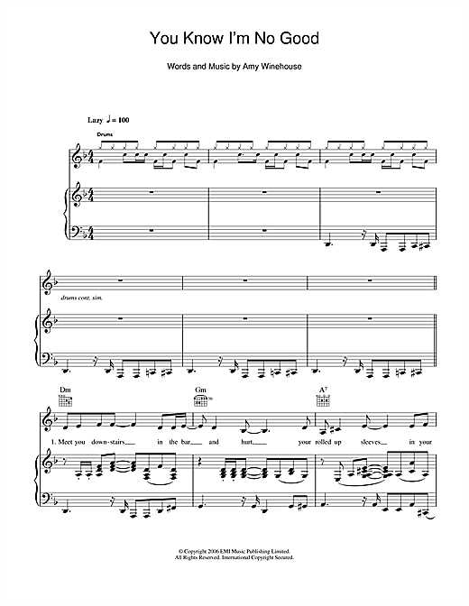 Amy Winehouse You Know I'm No Good sheet music notes and chords. Download Printable PDF.