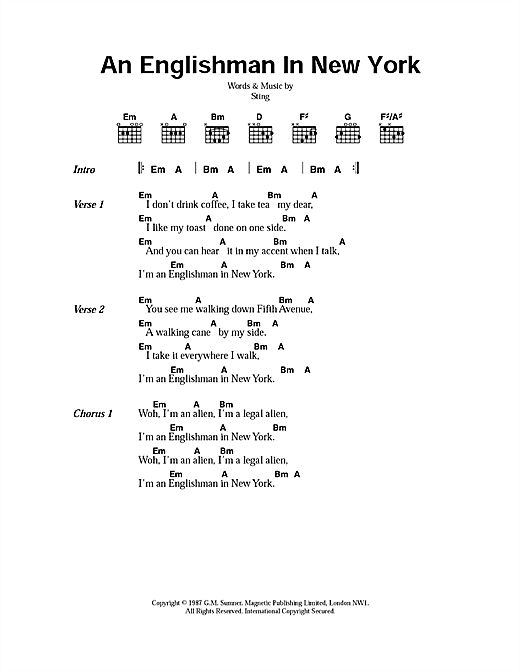 Sting An Englishman In New York sheet music notes printable PDF score