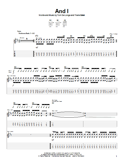 Box Car Racer And I sheet music notes printable PDF score