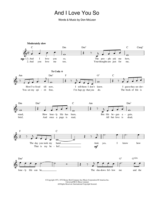 Don McLean And I Love You So sheet music notes printable PDF score