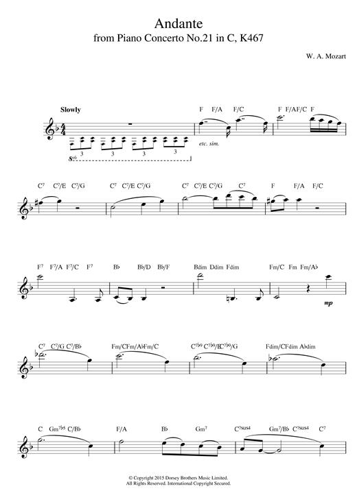 Wolfgang Amadeus Mozart Andante from Piano Concerto in C Major (Elvira Madigan) K467 sheet music notes printable PDF score