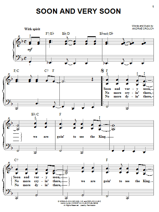 Andrae Crouch Soon And Very Soon sheet music notes and chords. Download Printable PDF.