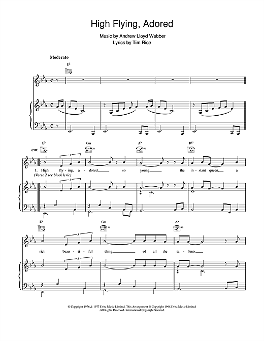 Andrew Lloyd Webber High Flying, Adored (from Evita) sheet music notes printable PDF score