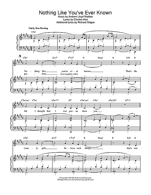 Andrew Lloyd Webber Nothing Like You've Ever Known (from Tell Me On A Sunday) sheet music notes printable PDF score