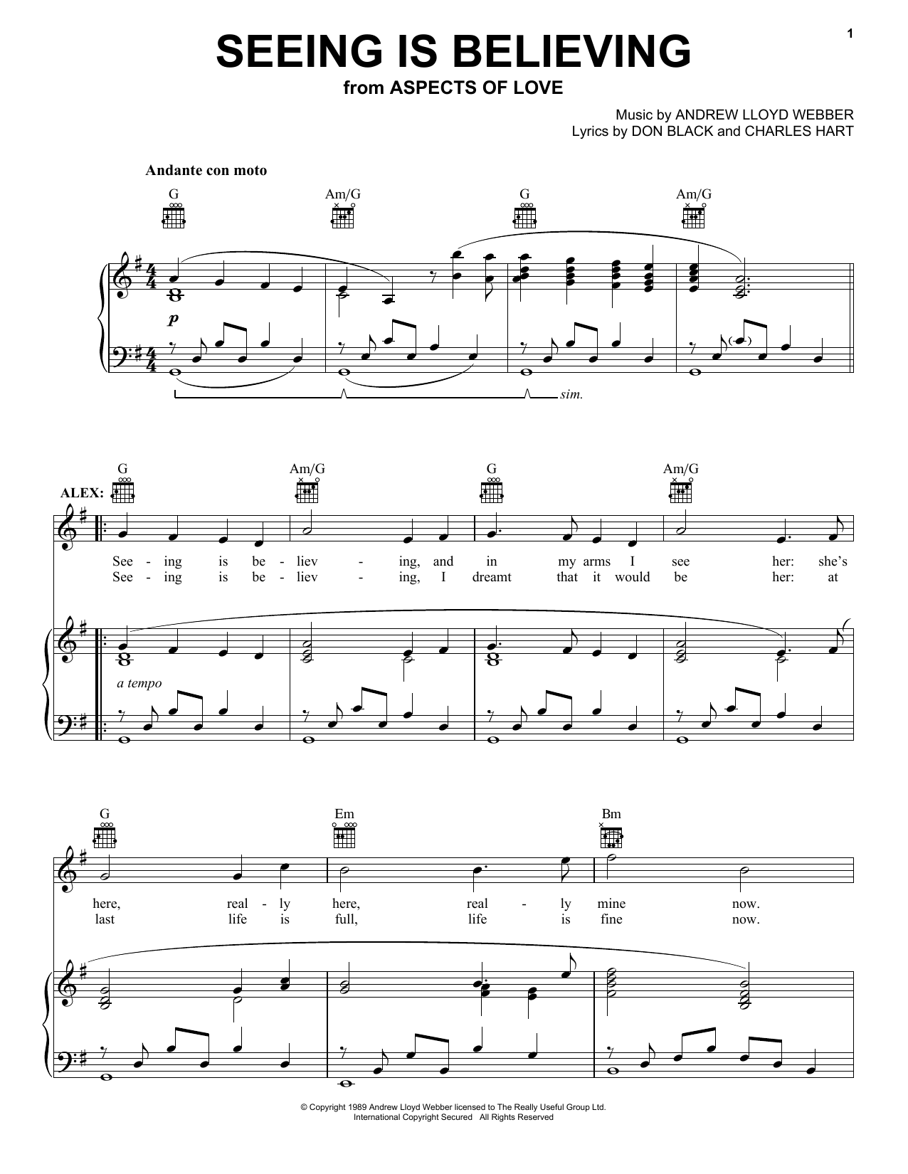 Andrew Lloyd Webber Seeing Is Believing (from Aspects of Love) sheet music notes printable PDF score