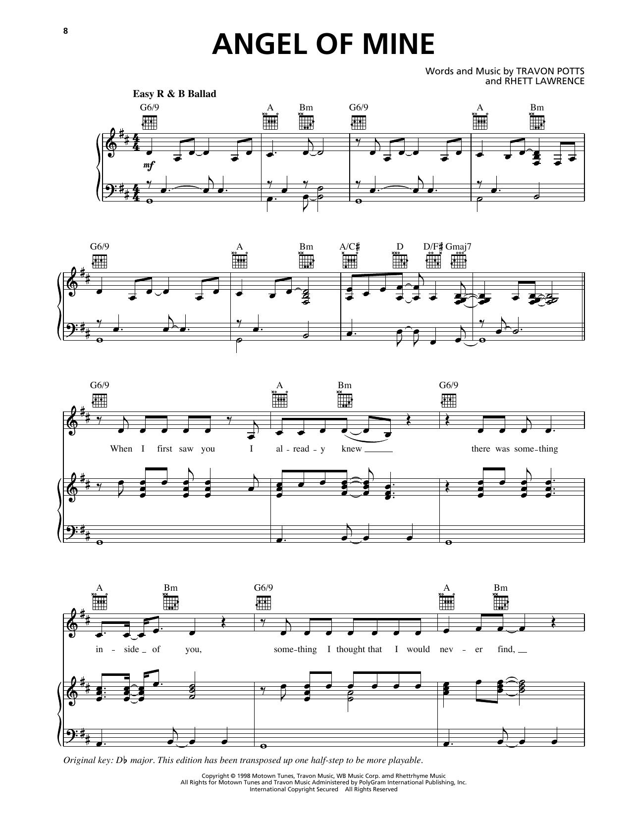 Monica Angel Of Mine sheet music notes printable PDF score