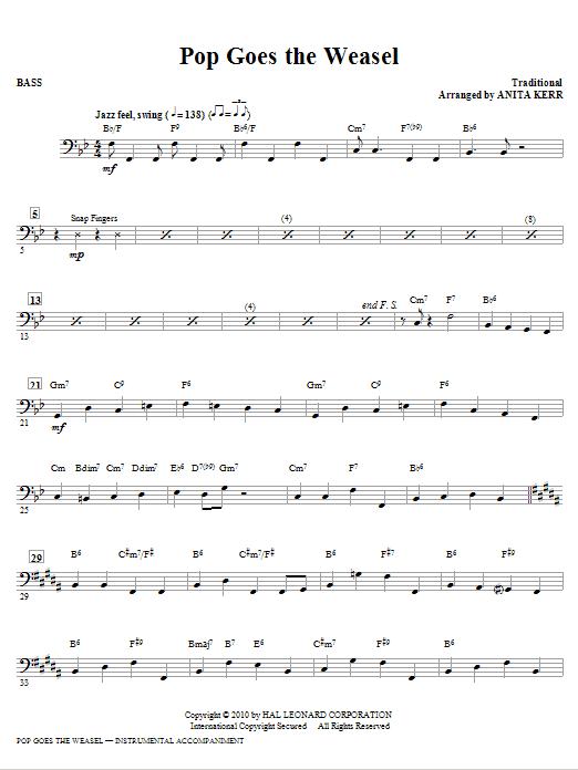 Anita Kerr Pop Goes The Weasel - Bass sheet music notes printable PDF score