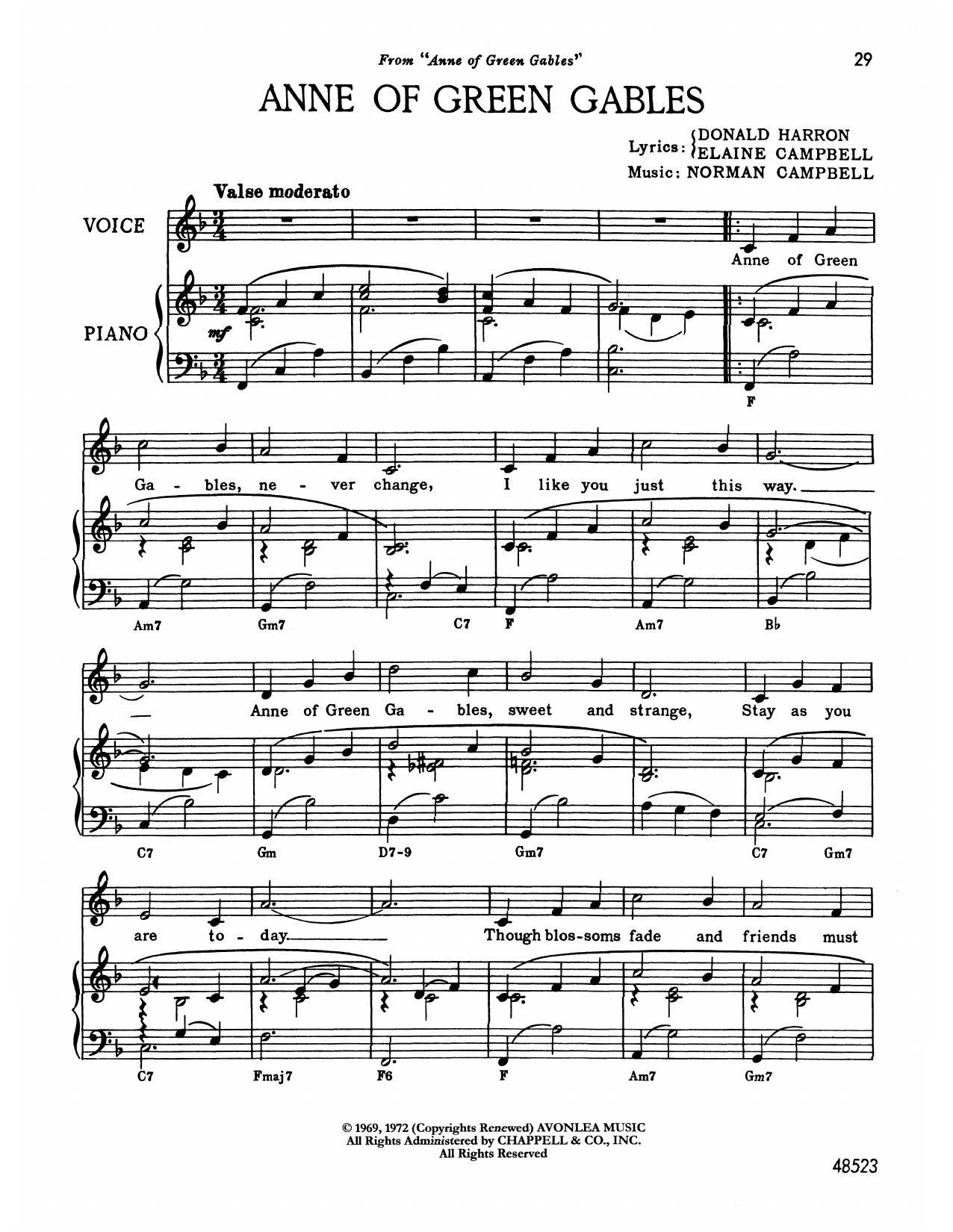 Norman Campbell Anne Of Green Gables (from Anne Of Green Gables) sheet music notes printable PDF score