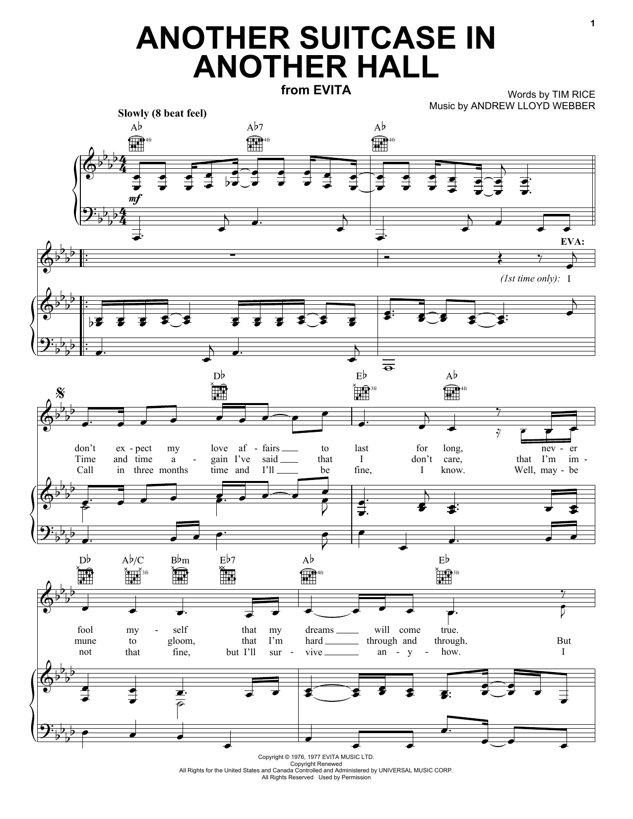 Andrew Lloyd Webber Another Suitcase In Another Hall (from Evita) sheet music notes printable PDF score