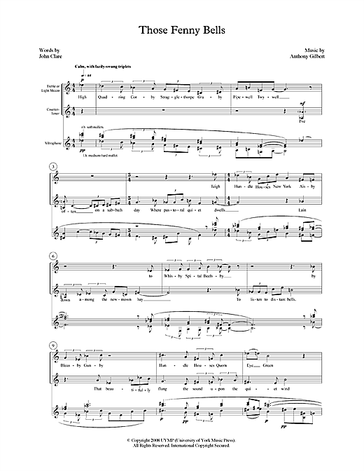 Anthony Gilbert Those Fenny Bells (for mezzo-soprano, counter-tenor and vibraphone) sheet music notes printable PDF score