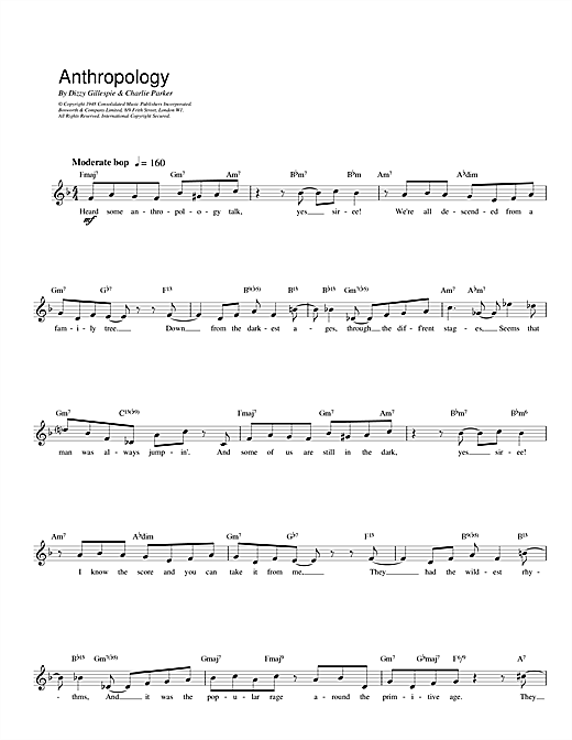 Charlie Parker Anthropology sheet music notes printable PDF score