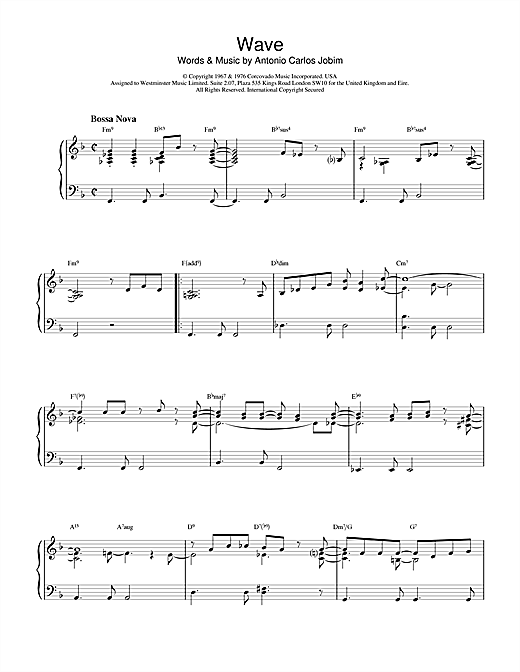 Antonio Carlos Jobim Wave sheet music notes printable PDF score