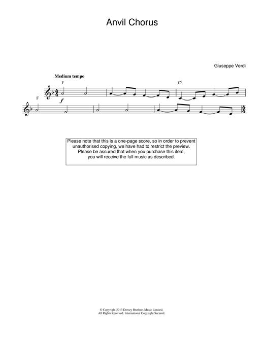 Giuseppe Verdi Anvil Chorus (from Il Trovatore) sheet music notes printable PDF score