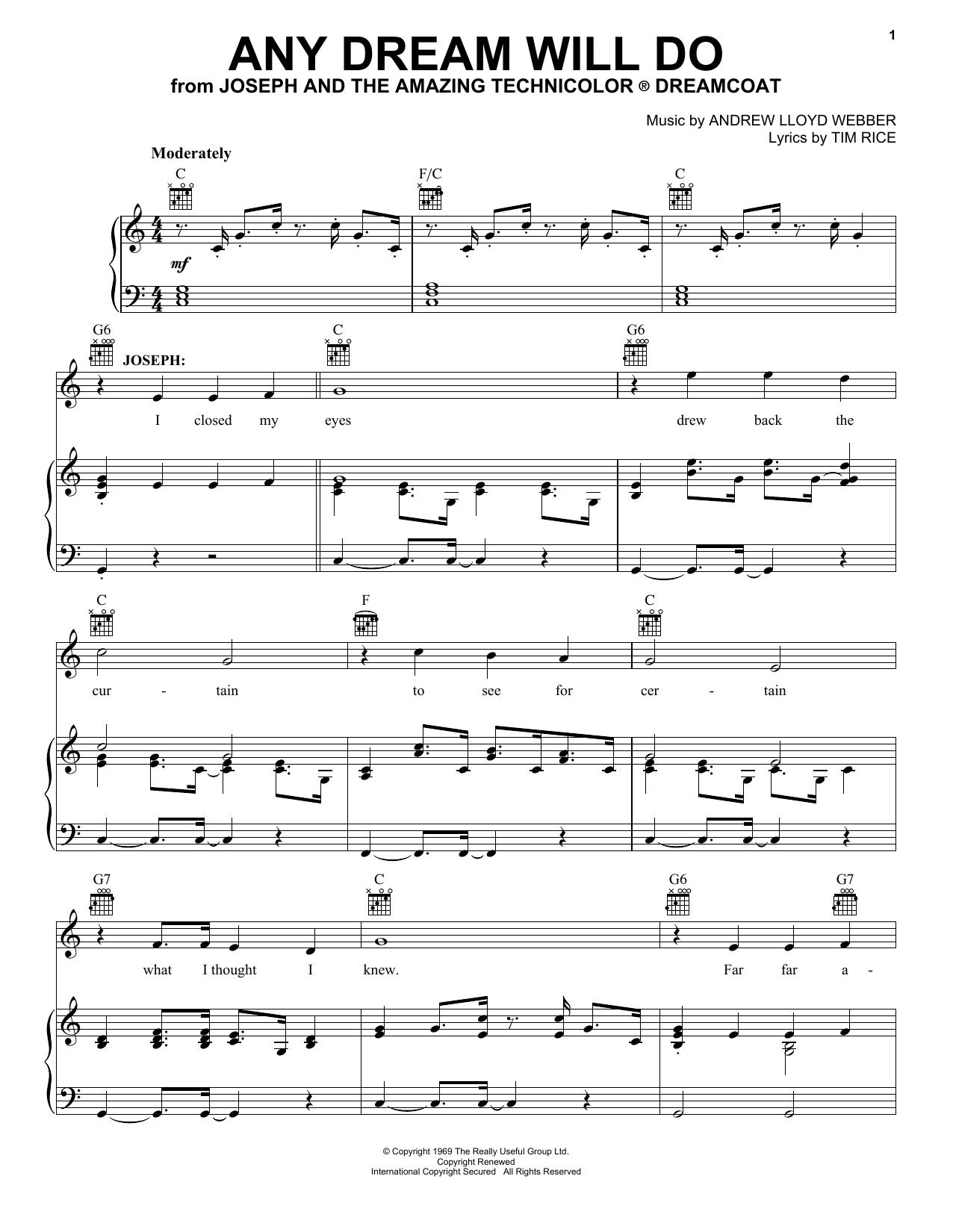 Andrew Lloyd Webber Any Dream Will Do sheet music notes printable PDF score