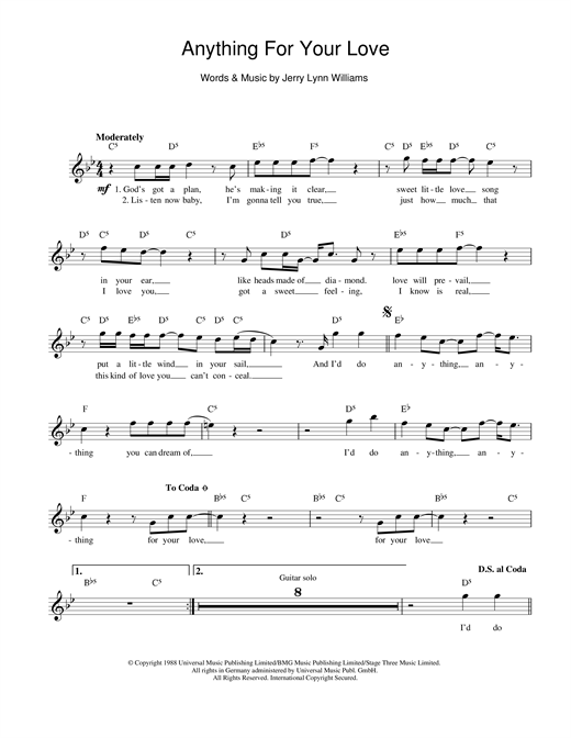 Jerry Lynn Williams Anything For Your Love sheet music notes printable PDF score