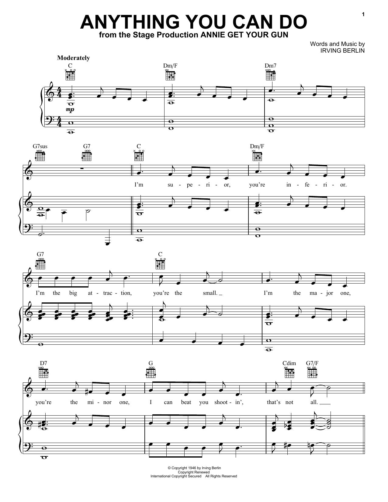 Ethel Merman Anything You Can Do sheet music notes printable PDF score