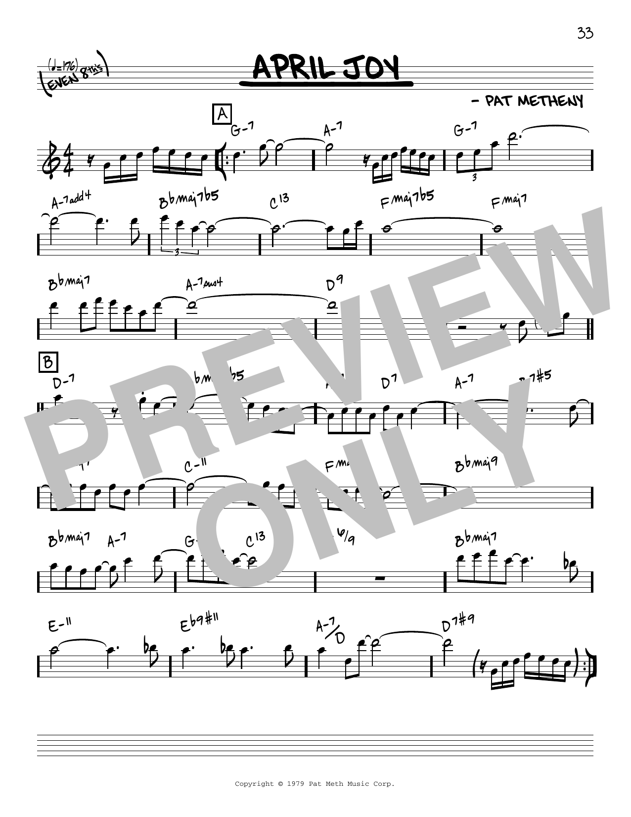 Pat Metheny April Joy [Reharmonized version] (arr. Jack Grassel) sheet music notes printable PDF score