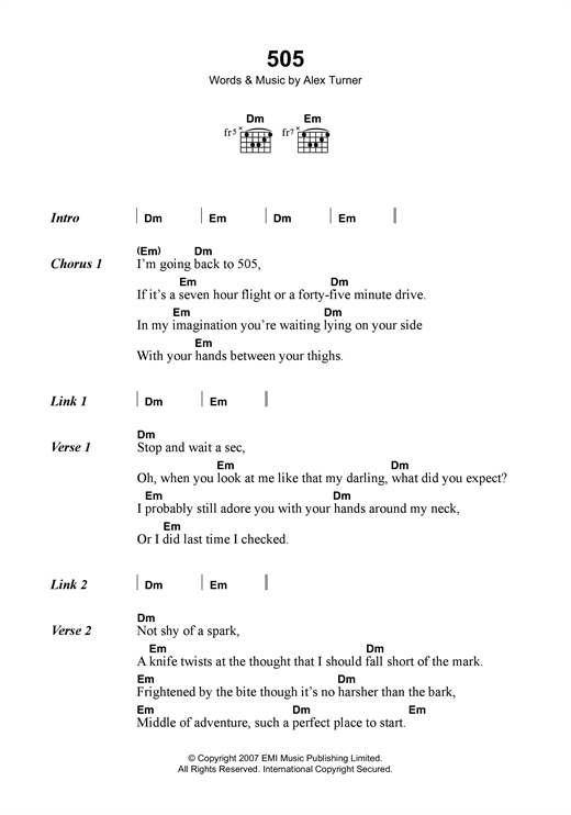 Arctic Monkeys 505 sheet music notes and chords. Download Printable PDF.