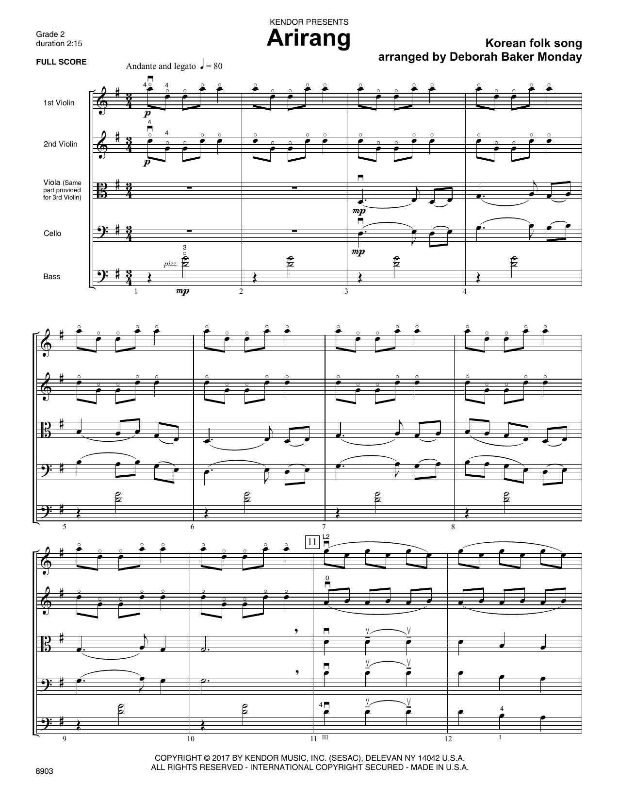 Deborah Baker Monday Arirang - Full Score sheet music notes printable PDF score