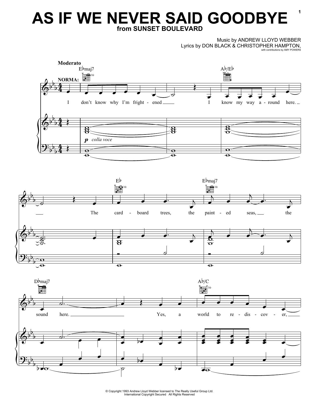 Andrew Lloyd Webber As If We Never Said Goodbye sheet music notes printable PDF score