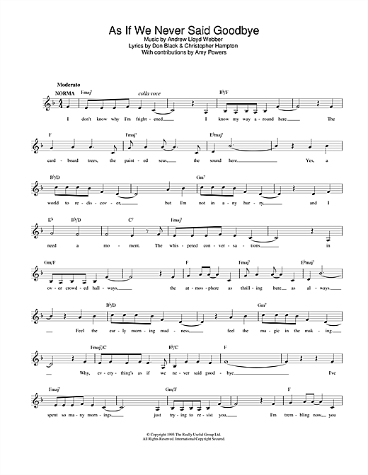 Andrew Lloyd Webber As If We Never Said Goodbye (from Sunset Boulevard) sheet music notes printable PDF score