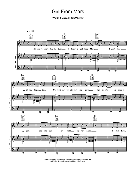 Ash Girl From Mars sheet music notes and chords. Download Printable PDF.