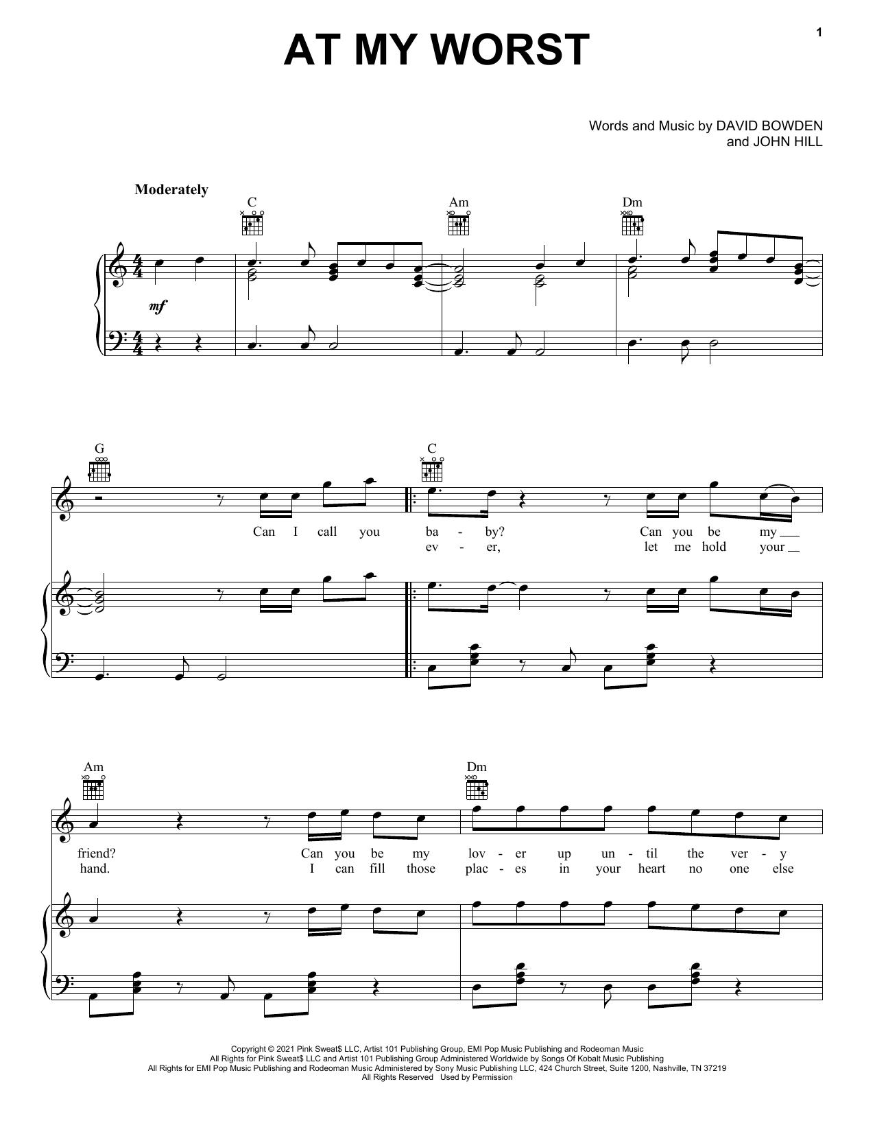 Pink Sweat$ At My Worst sheet music notes printable PDF score