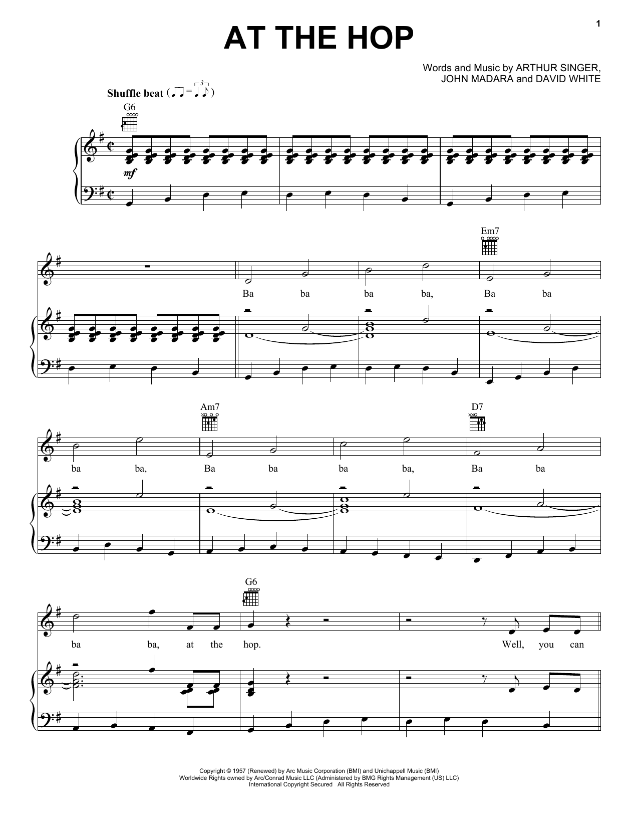 Danny & The Juniors At The Hop sheet music notes printable PDF score