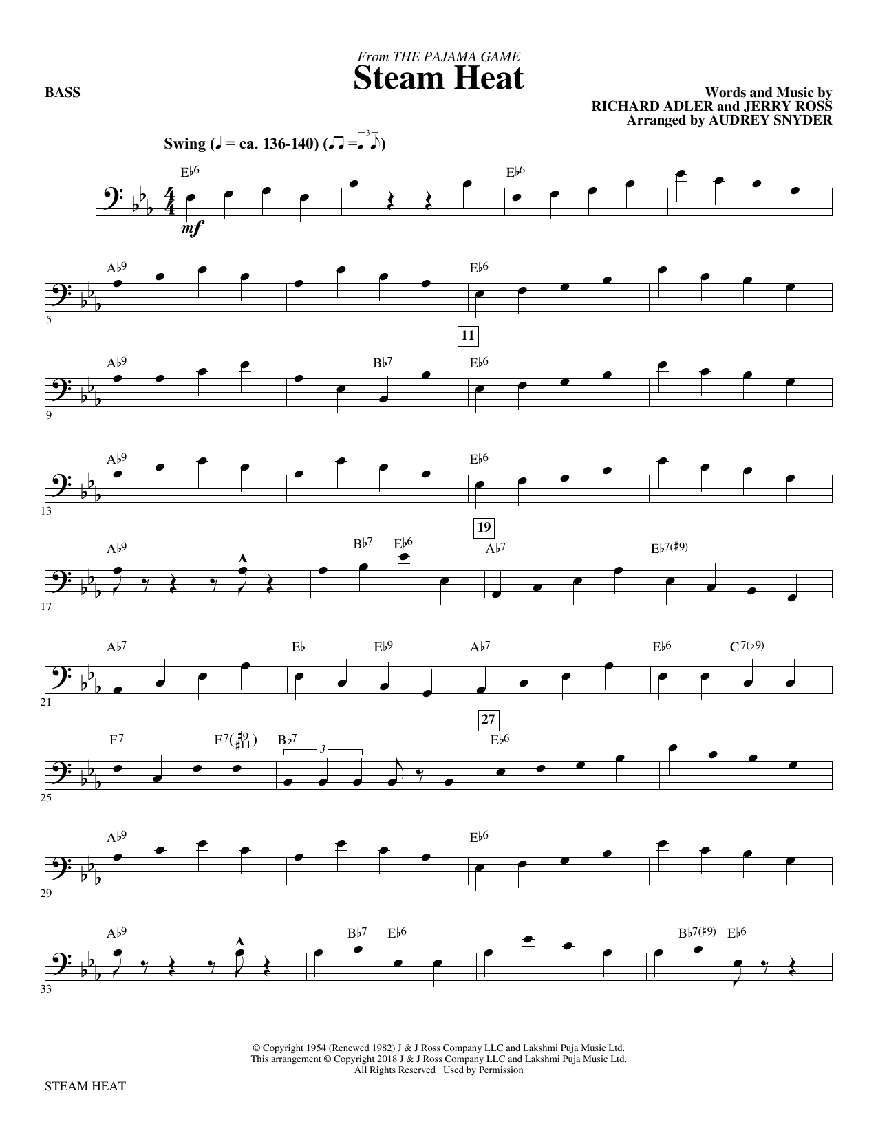 Audrey Snyder Steam Heat - Bass sheet music notes and chords. Download Printable PDF.