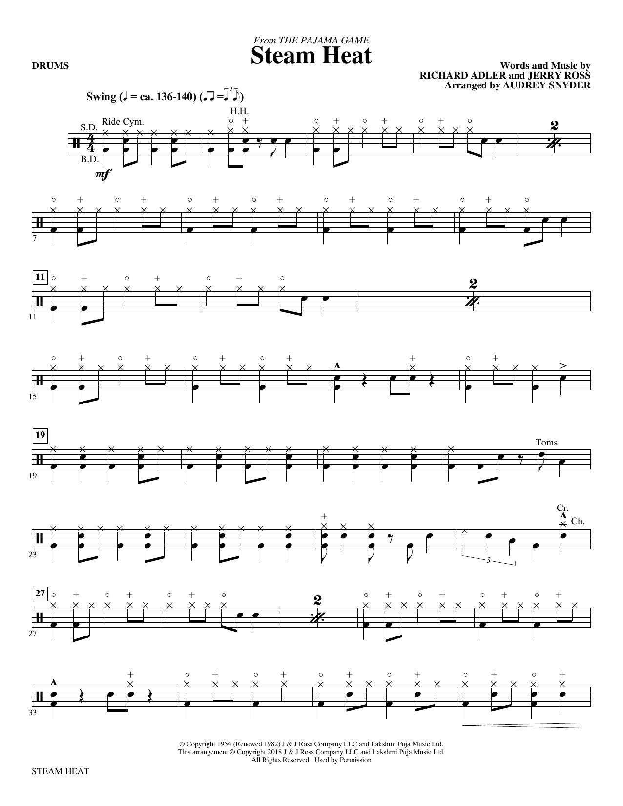 Audrey Snyder Steam Heat - Drums sheet music notes and chords. Download Printable PDF.