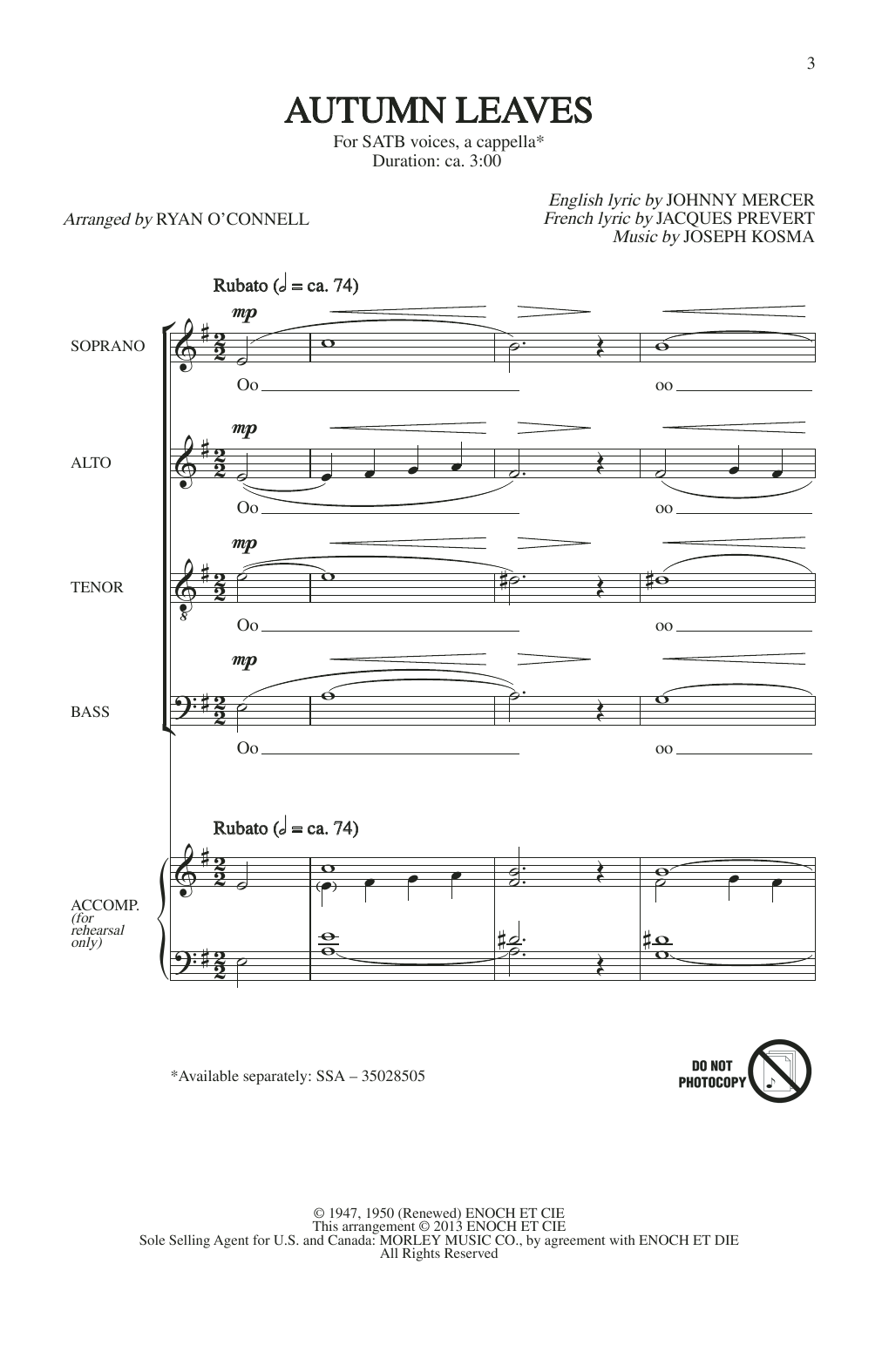 Johnny Mercer Autumn Leaves (arr. Ryan O'Connell) sheet music notes printable PDF score