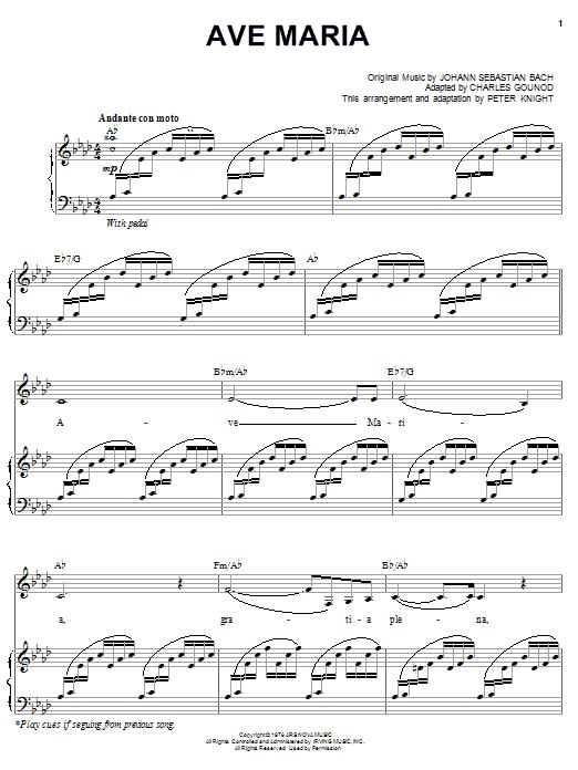 Carpenters Ave Maria sheet music notes printable PDF score