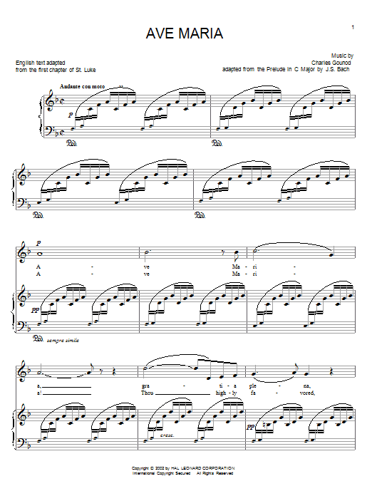 Charles Gounod Ave Maria sheet music notes printable PDF score