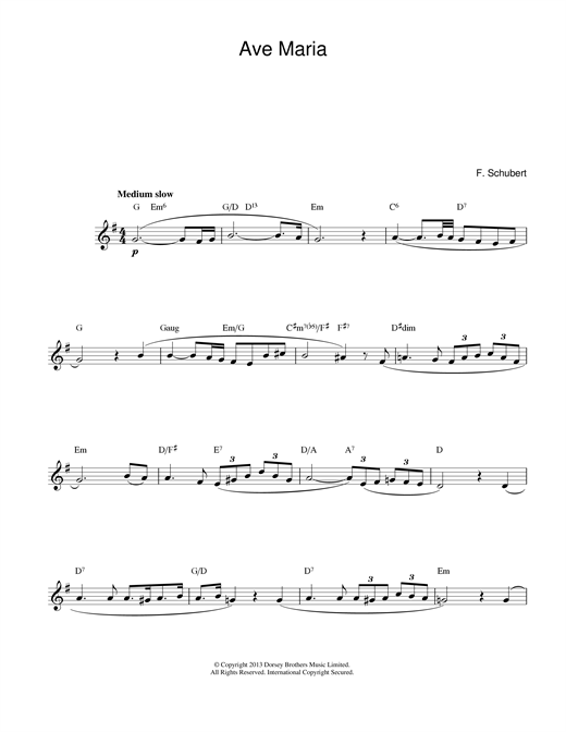 Franz Schubert Ave Maria sheet music notes printable PDF score