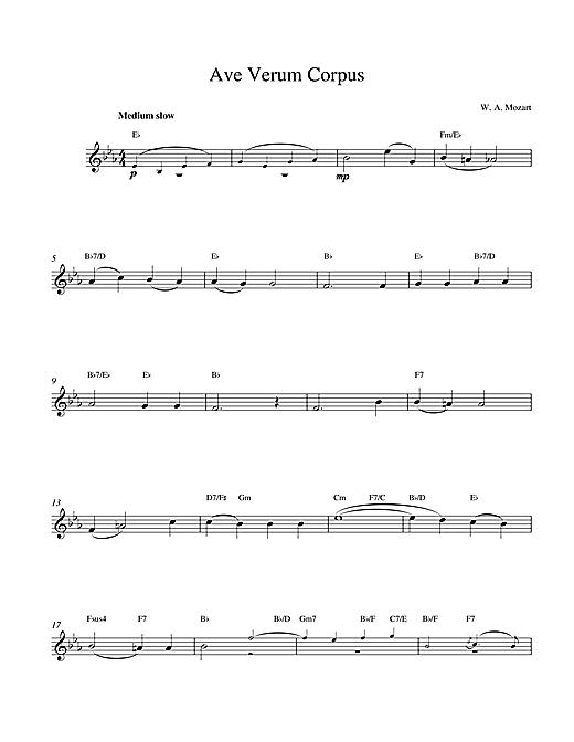 Wolfgang Amadeus Mozart Avernum sheet music notes printable PDF score