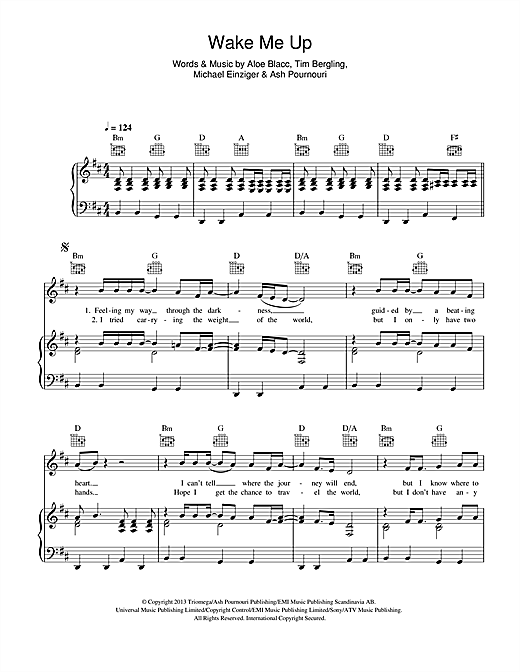 Avicii Wake Me Up sheet music notes and chords - download printable PDF.