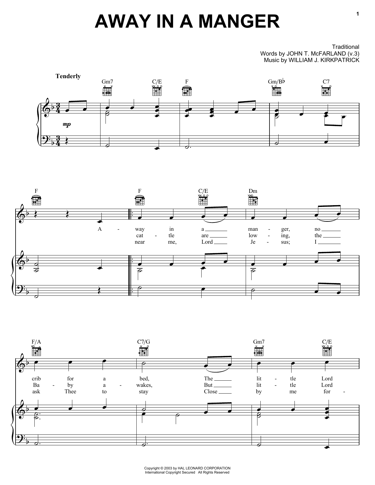 Christmas Carol Away In A Manger (jazzy arrangement) sheet music notes printable PDF score