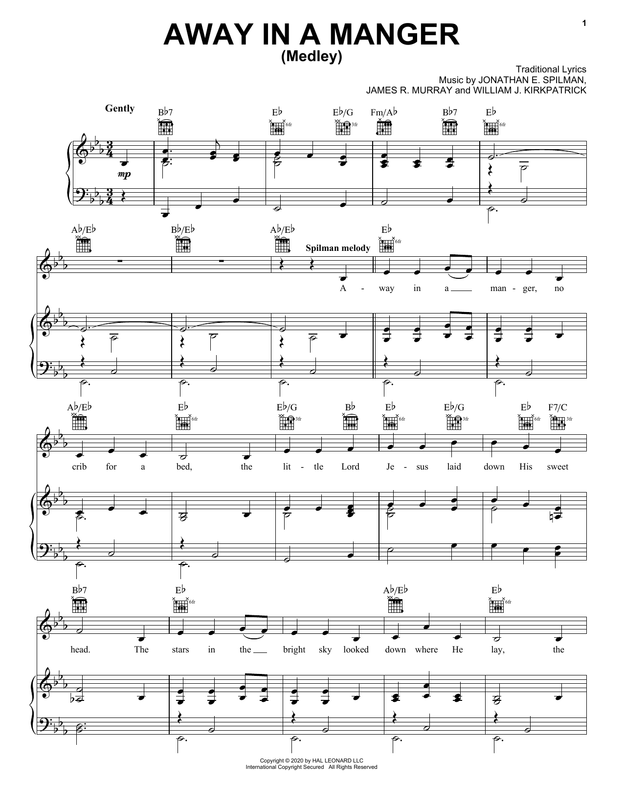 Traditional Away In A Manger (Medley) sheet music notes printable PDF score