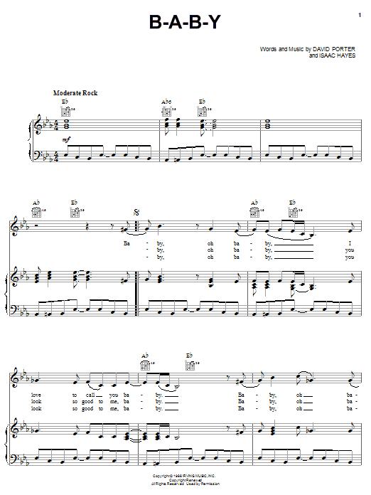 Carla Thomas B-A-B-Y sheet music notes printable PDF score