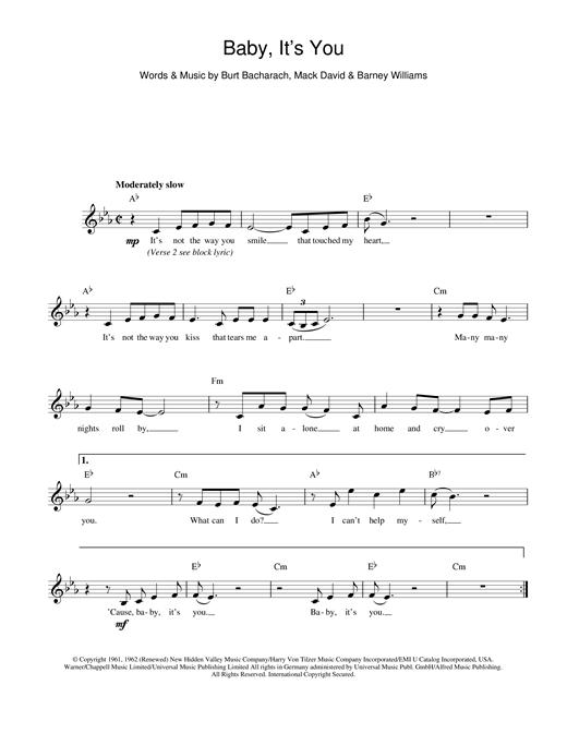 Bacharach & David Baby It's You sheet music notes printable PDF score