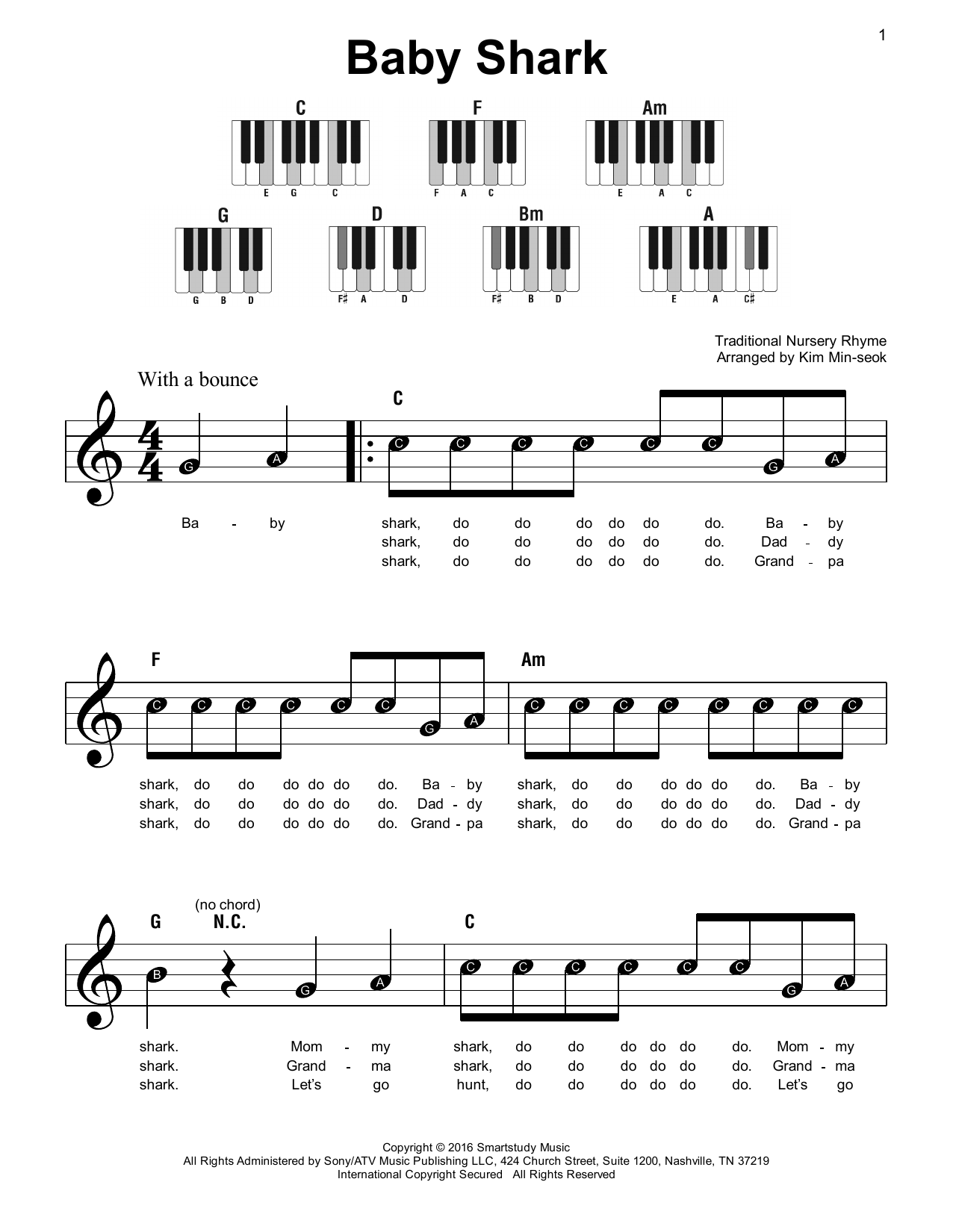 Pinkfong Baby Shark sheet music notes printable PDF score
