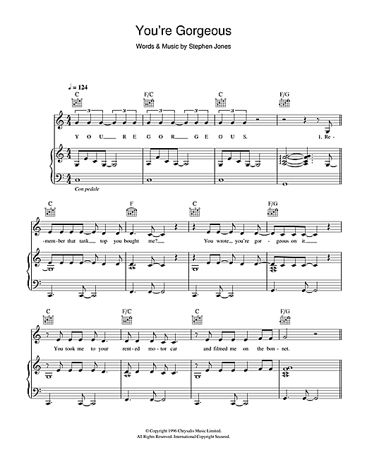 Babybird You're Gorgeous sheet music notes and chords - download printable PDF.