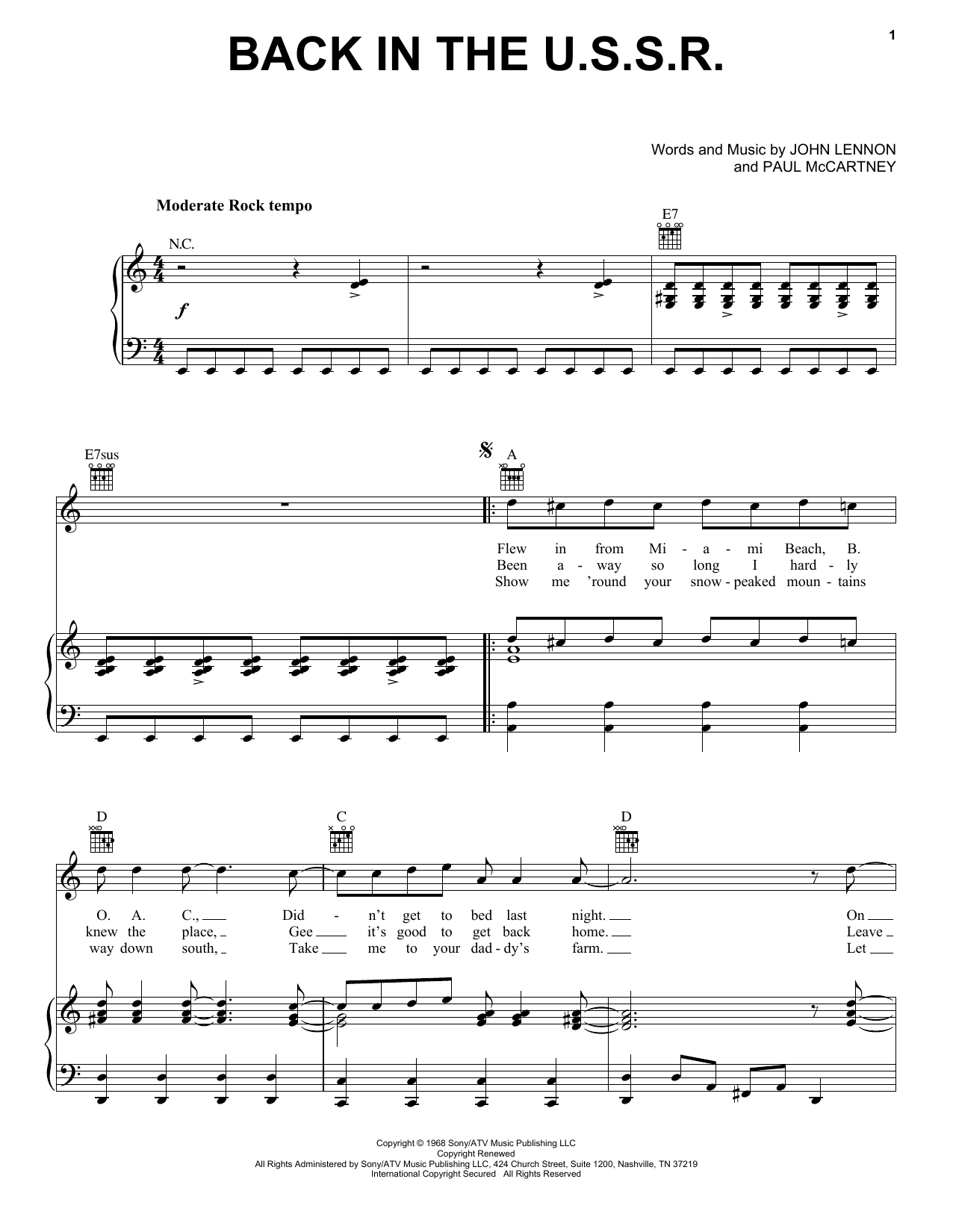 The Beatles Back In The U.S.S.R. sheet music notes printable PDF score