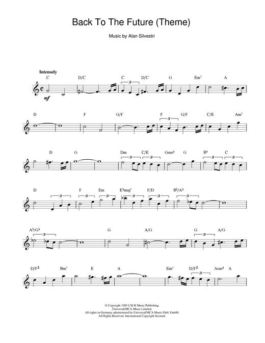 Alan Silvestri Back To The Future (Theme) sheet music notes printable PDF score