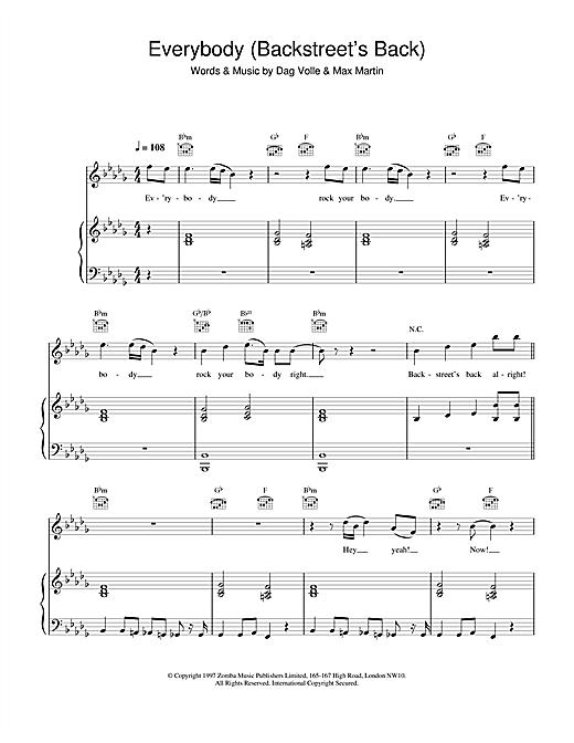 Backstreet Boys Everybody (Backstreet's Back) sheet music notes printable PDF score