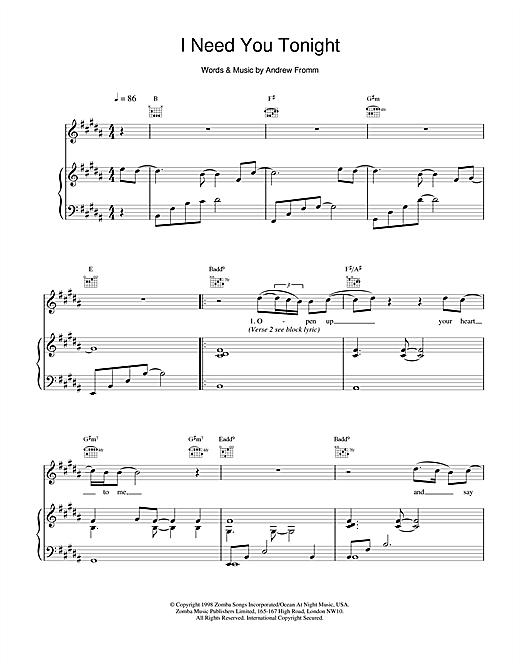 Backstreet Boys I Need You Tonight sheet music notes printable PDF score
