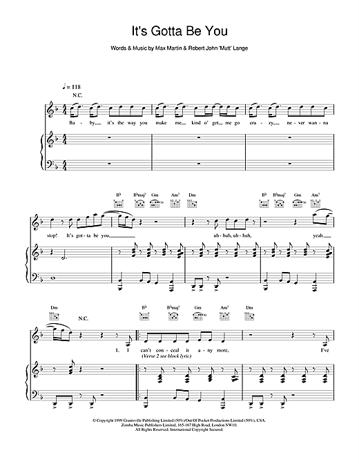 Backstreet Boys It's Gotta Be You sheet music notes printable PDF score