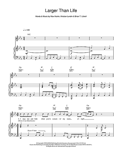 Backstreet Boys Larger Than Life sheet music notes printable PDF score