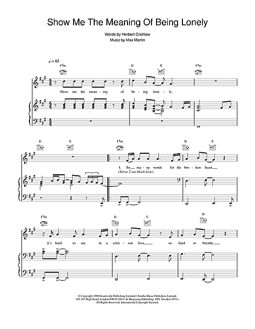 Backstreet Boys Show Me The Meaning Of Being Lonely sheet music notes printable PDF score